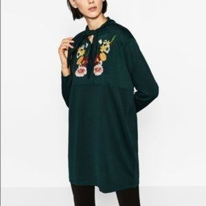Zara Unique Green Dress with Embroidered Flowers